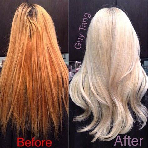 fix copper blonde hair from ratchet brassy orange to pearl blonde transformation