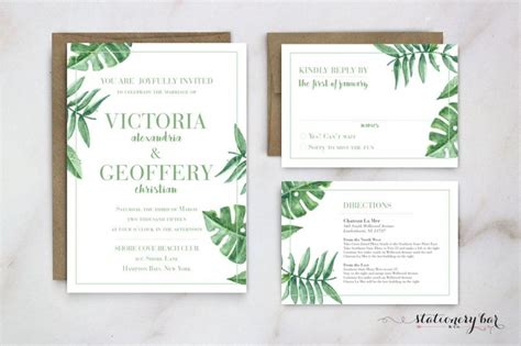 Leaf Themed Wedding Invitations palm leaf wedding invitation banana leaf invitation