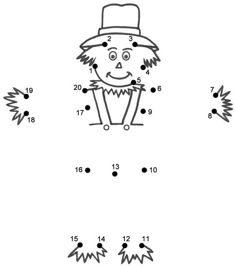 printable dot to dot thanksgiving scarecrow connect the dots count by 1 s thanksgiving