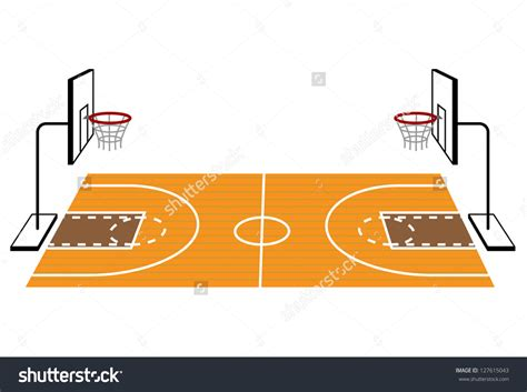 outside clipart basketball court pencil and in color