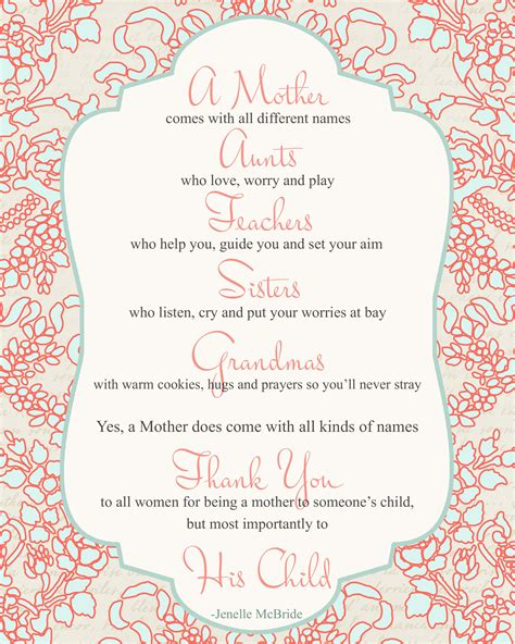 Come With Me Mothers Day Menu Part 1 by S Day Poem For All Printable Poem Big And