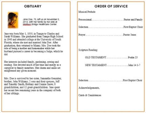 memorial order of service template the funeral memorial program how to choose funeral