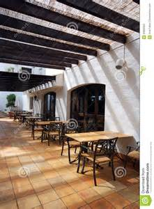 Patio Furniture White Open Terrace Cafe In Mediterranean Town Stock Images
