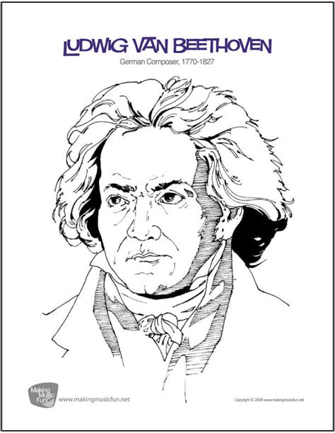 music composer coloring pages ludwig van beethoven free composer coloring page