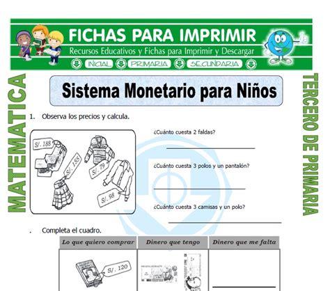 actividades para ni os de cuarto de primaria sistema monetario para ni 241 os para tercero de primaria