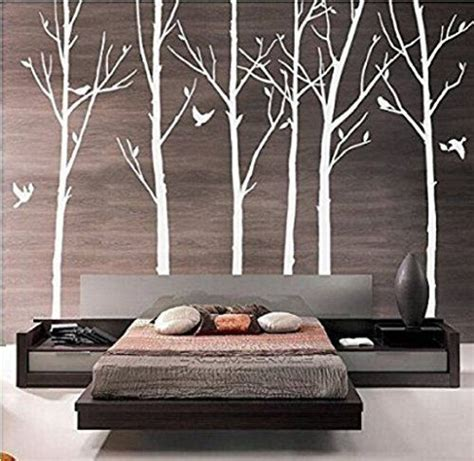 Sticker Wallpaper Dinding Photo Tree removable vinyl wall stickers set of 8 branch tree wall decals white tree wallpaper with birds