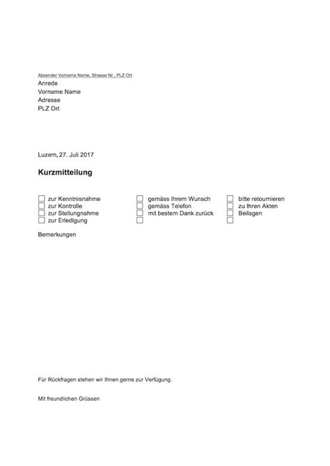 Vorlage Brief Beispiel kurzbrief vorlage word zum ausdrucken muster vorlage ch