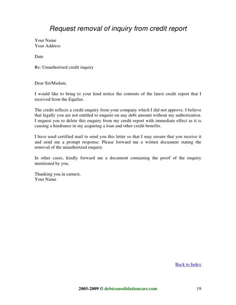 Credit Inquiry Removal Letter Sleletter