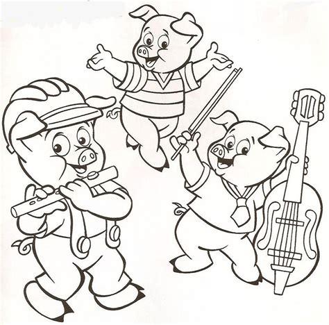 imagenes de cumpleaños para 3 porquinhos tocando desenhos para colorir