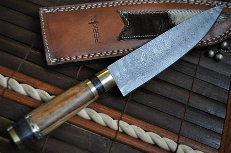 handmade kitchen knives uk handcrafted damascus chef knife root wood mosaic pin handle perkin