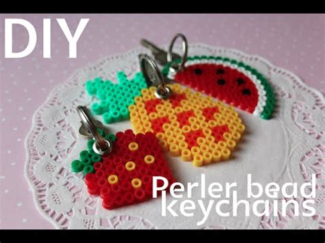 how to make a perler bead keychain diy perler bead fruit keychains