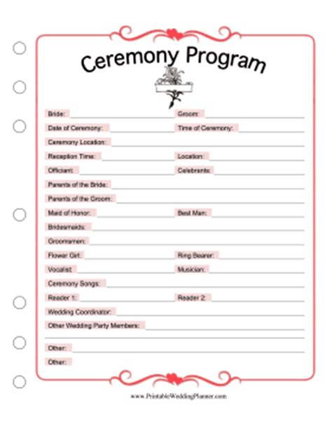 Wedding Song List Printable by Ceremony Program