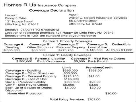 renters insurance declaration page template best photos of renters insurance declaration page sle homeowners insurance policy