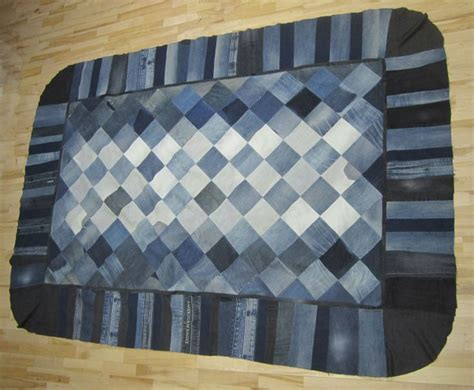 denim rug diy made into a rug recycled