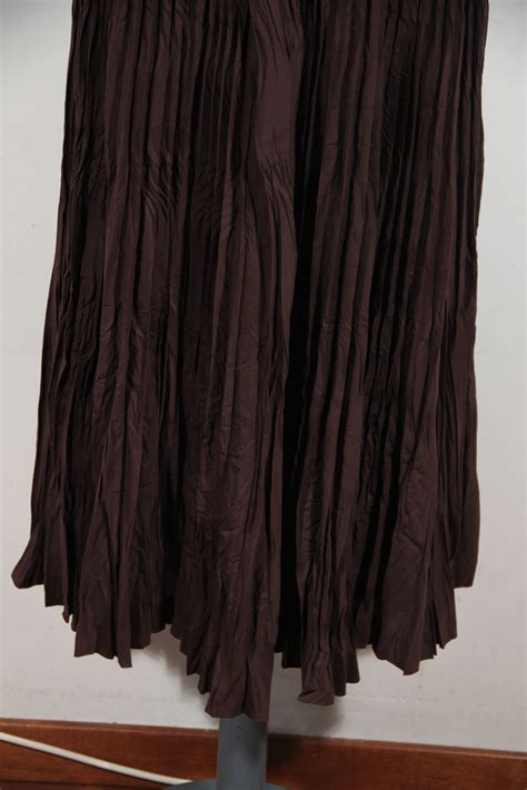 issey miyake brown silk blend fabric pleated maxi skirt
