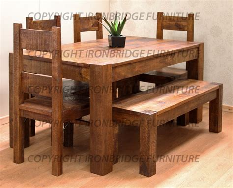 Prissilia Kitchen Set Table 160 rustic farm 160cm dining table 4 chairs 135cm bench