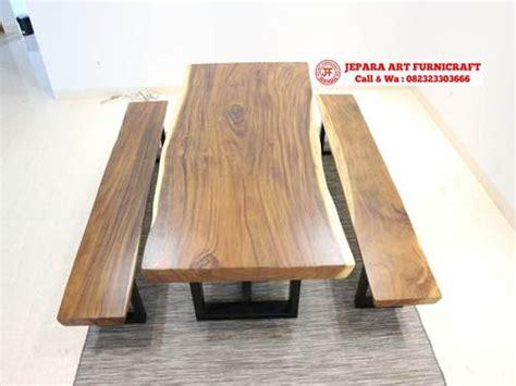 Kursi Besi Stainless jual set meja makan bangku solid trembesi kaki besi murah