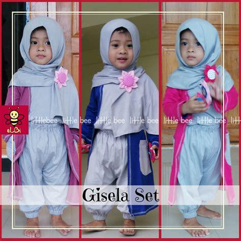 Set Fondy Baju Anak elbi gisela set baju muslim anak balita 3 4 tahun warna abu abu pink elevenia