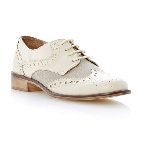 dune langbury brogue shoes in white lyst