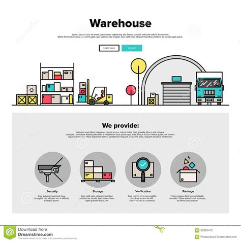 Warehouse Storage Flat Line Web Graphics Stock Vector Image 60326412 Warehouse Website Template