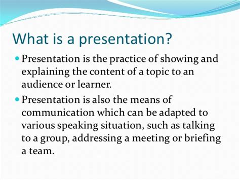 what is a what is a presentation