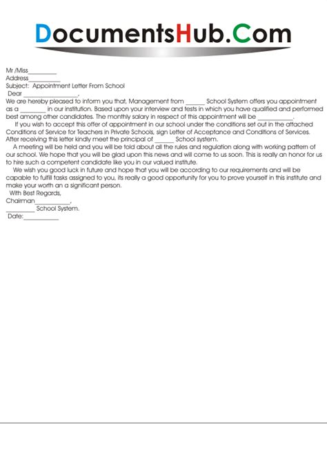 Appointment Letter For Kindergarten Position Appointment Letter Format For School Documentshub