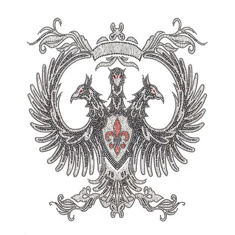 sred  headed phoenix fleur de lis designer