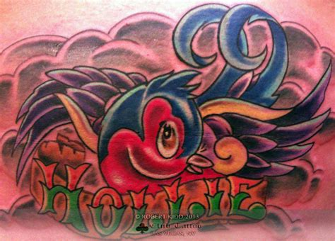 new skool tattoo robertkidd bird new skool new school name hollie