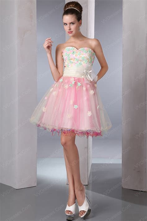 Sweet Mini Dress lovely multi color applique flowers sweet 16 dress discount