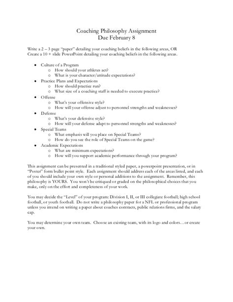 Coach Essay by Coaching Philosophy Assignment