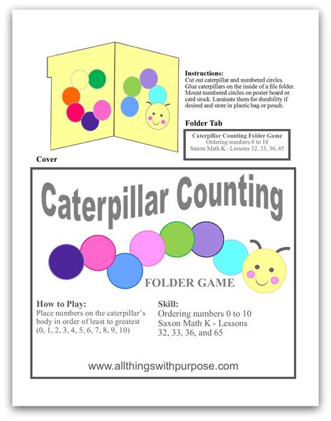 printable counting games caterpillar counting folder game