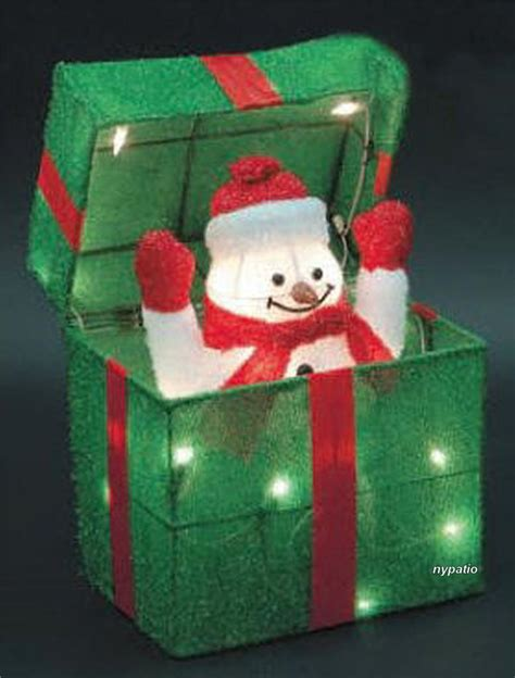 animated snowman gift box lighted tinsel indoor outdoor
