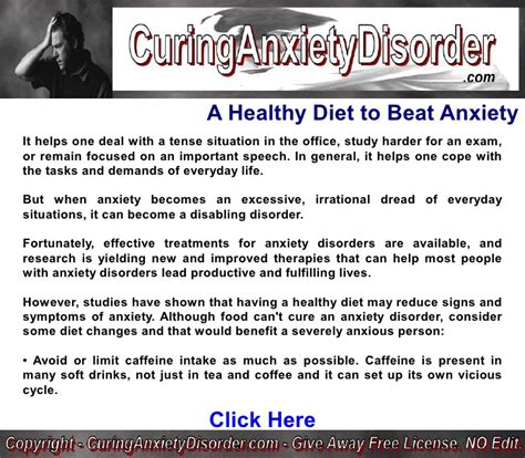 Beat A Healthy by A Healthy Diet To Beat Anxiety Curing Anxiety Disorder