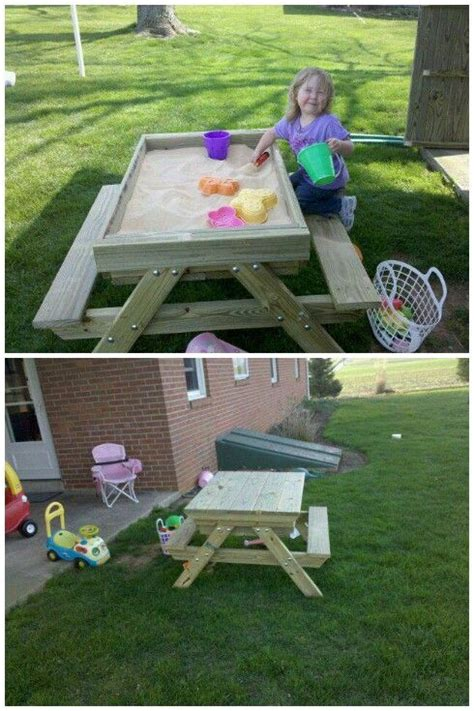 picnic table sandbox a picnic table and sandbox all in one http lancaster