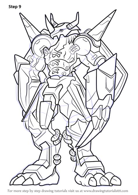 Drawing X by Learn How To Draw Wargreymon From Digimon Digimon Step