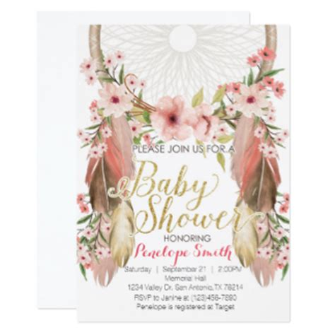 Coral Pink Wedding Decorations Boho Invitations Amp Announcements Zazzle