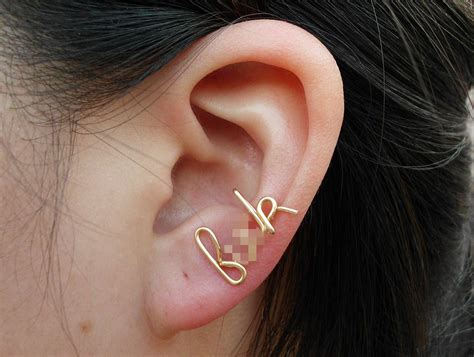 gold wire f k earring cartilage earring ear cuff