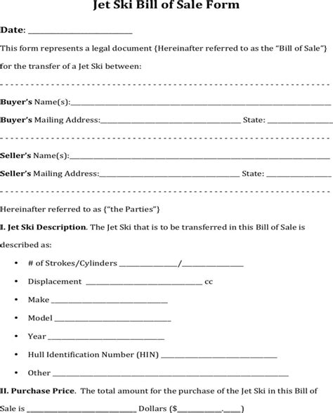 Download Jet Ski Bill Of Sale Form For Free Formtemplate Personal Watercraft Bill Of Sale Template
