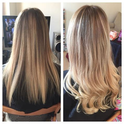 hair extension for over 65 all over damaged brassy blonde to ombre we added 50