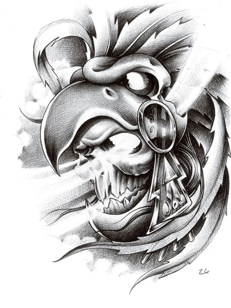 aztec warrior skull tattoo designs skull eagle helmet cool things helmets