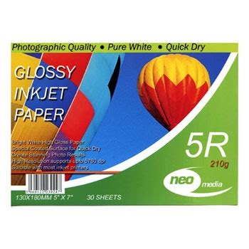 Glossy Photo Paper 210g Coral 7x5 210gsm photo gloss paper 30 sheets neo media neo 7x5