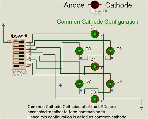 common anode cathode led display proteus tutorial using single and digit segment displays electronic circuits and