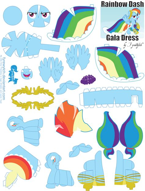 Rainbow Dash Papercraft - rainbow dash gala printout by fyrewytch on deviantart