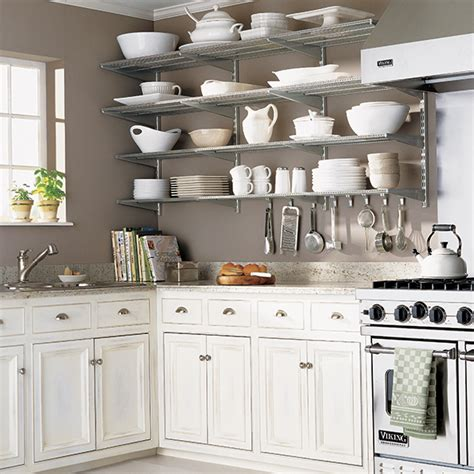 shelves in kitchen ideas platinum elfa kitchen wall the container store