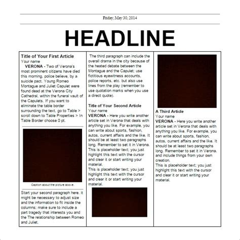 free newspaper template for word blank newspaper template for word the best letter sle