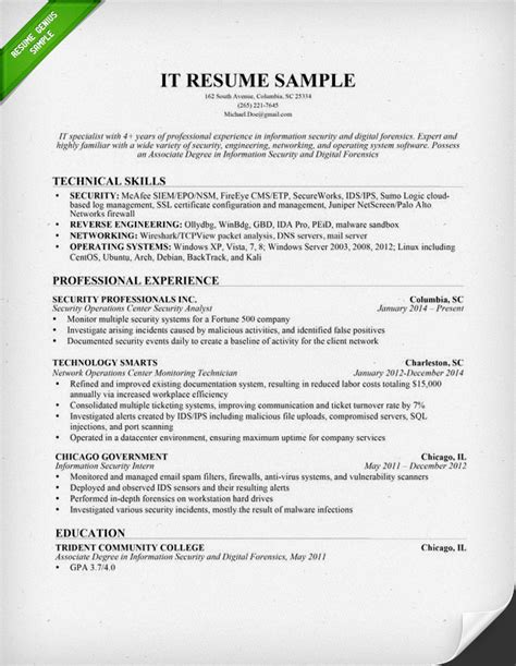 It Resume Templates information technology it resume sle resume genius