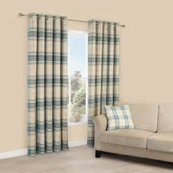 Lamego Duck Egg & Cream Tartan Brushed Eyelet Lined Curtains (W)167cm (L)228cm   Departments