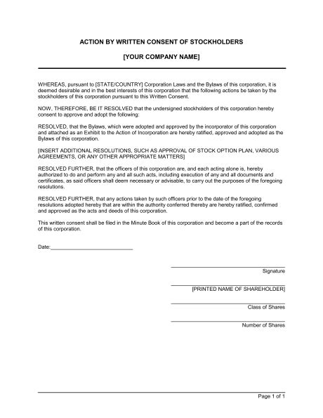 written resolution template by written consent of shareholders template