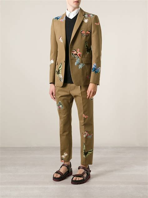 Valentino Suit lyst valentino embroidered butterfly suit in green for