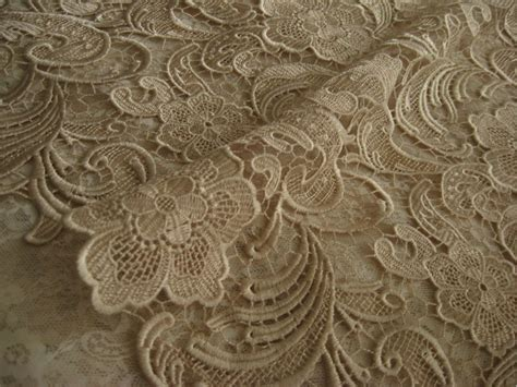 Home Decor 3d by Chic Champagne Lace Fabric Crocheted Lace Fabric Bridal